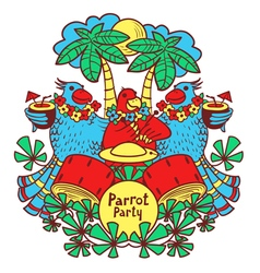 Cocktail parrot party in the tropics vector image