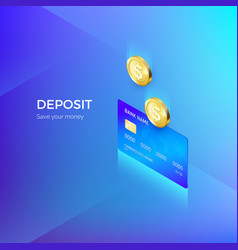 coin drops into credit card isometric banner vector image