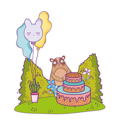 cute bear with sweet cake and balloons helium vector image