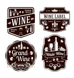 Dark monochrome wine labels of different shapes vector image