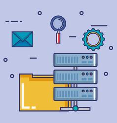 data center set flat icons vector image