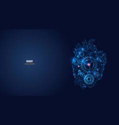 digital polygonal heart as biohacking concept vector image