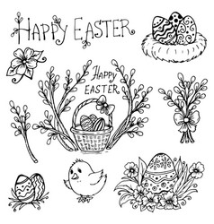 Doodle spring is willow easter eggs vector