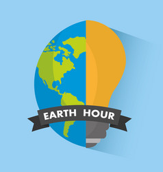 earth hour globe bulb light ecology vector image