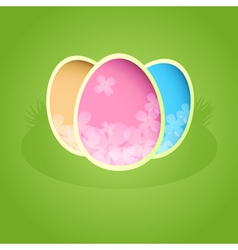 Easter paper card with color eggs vector image