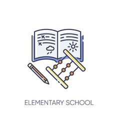 Elementary school rgb color icon vector