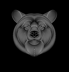 engraving stylized bear on black background vector image
