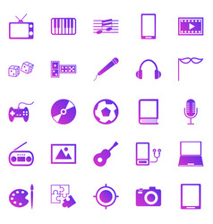 entertainment gradient icons on white background vector image