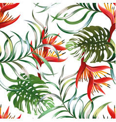 Fern monstera heliconia seamless white background vector