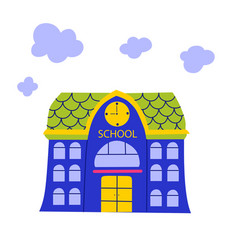 Flat banner with school building back on white vector