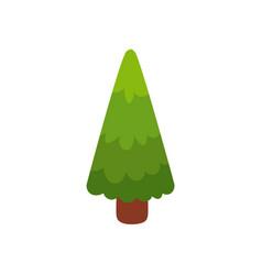 flat cartoon comic style green fir tree pine vector image