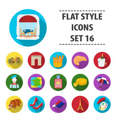 France country set icons in flat style big vector