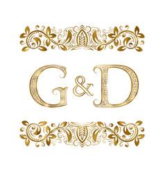 g and d vintage initials logo symbol vector image