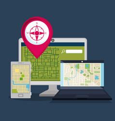 Gps navigation set icons vector