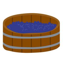 grape in wooden barrel produce wine in keg vector image