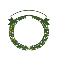 green olive branches forming a circle with ribbon vector image