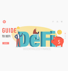 guide to defi landing page template tiny vector image