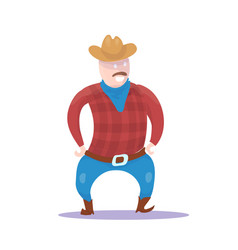 hand drawn cowboy character isolated vector image