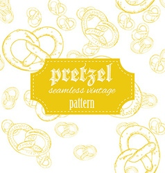 hand drawn vintage seamless pattern with pretzel vector image