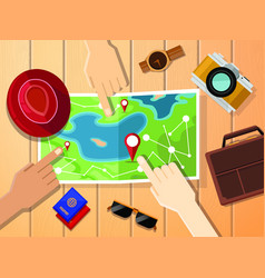 Hands of travelers pointing at map for planing vector