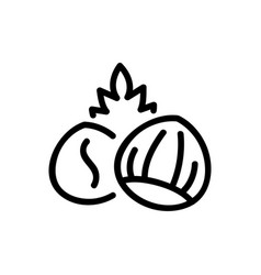 Hazelnut with leaf icon outline vector