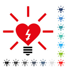 heart electric bulb icon vector image