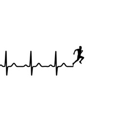 Heartbeat electrocardiogram and running man vector