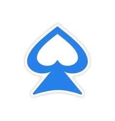 Icon sticker realistic design on paper spades vector