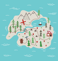 island map doodle vector image