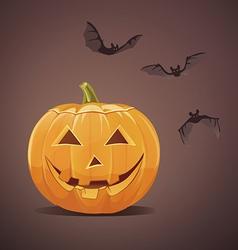 Jack-o-lantern with bats vector
