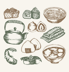japanese food - color hand drawn vector image