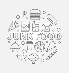 junk food round unhealthy vector image