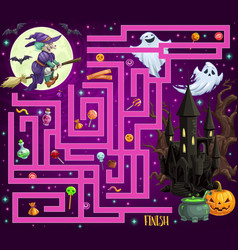 Kids halloween maze with monsters and candy vector