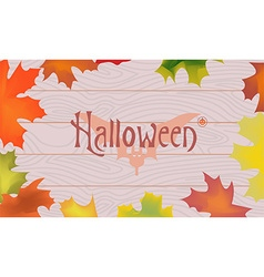 Maple color fall leaves pumpkin bat halloween vector image