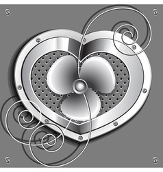 Metallic heart with a fan and springs vector
