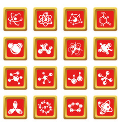 molecule icons set red square vector image