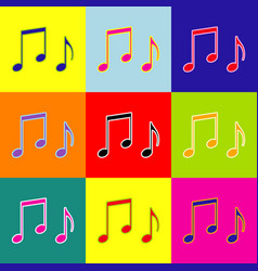 music notes sign pop-art style colorful vector image