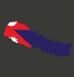 nepal map with shadow effect vector image