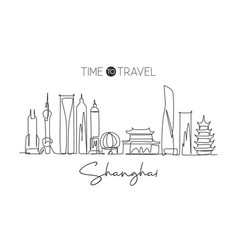 one continuous line drawing shanghai city vector image