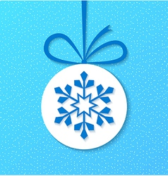 Paper christmas ball with snowflake vector image