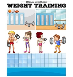 People doing weight training and locker room vector