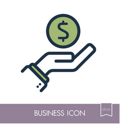 pictograph of money in hand icon vector image