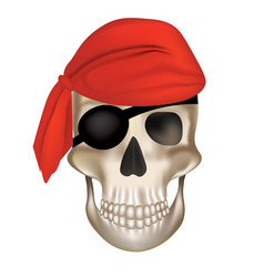 pirate skull with red hat vector image