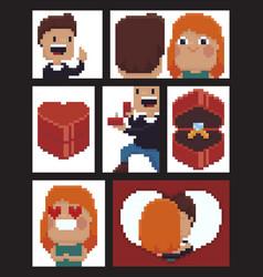 pixel art proposal vector image