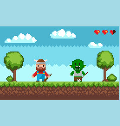 Pixel game characters viking and troll fight vector