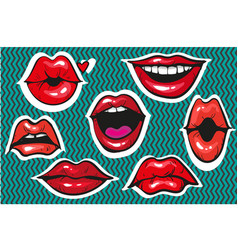 pop art sexy fashion patch badges or fancy vector image