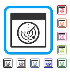 Radar calendar page framed icon vector