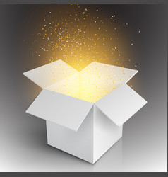 Realistic Magic Open Box Magic Gift Box vector image