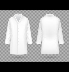 Realistic white medical lab coat hospital vector