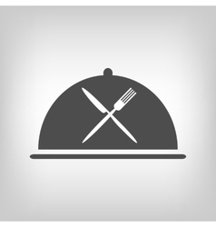 Restaurant icon with grey cloche and flatware vector